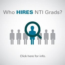 Text on the image says Who hires N T I grads? Click here for info.