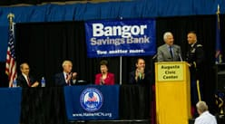 Speakers on stage at the 6th Annual Conference of the Maine Military & Community Network at the Augusta Civic Center