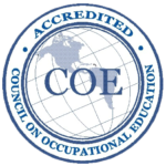 The Council on Occupational Education (COE) Accredited Seal