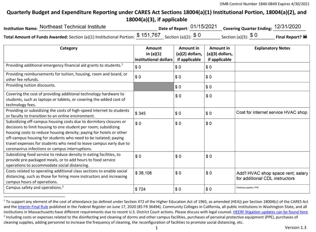 CARES Quarterly Grant Reporting Form 1840-0849 Q4 2020-1