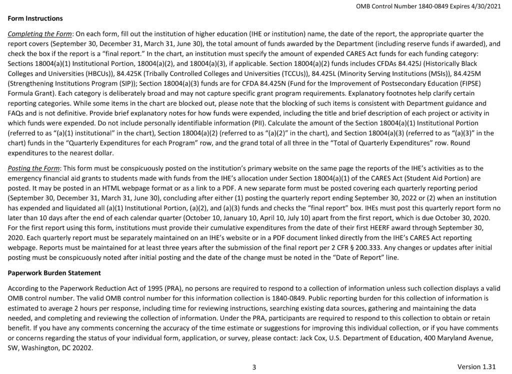 CARES Quarterly Grant Reporting Form 1840-0849 Q4 2020-3